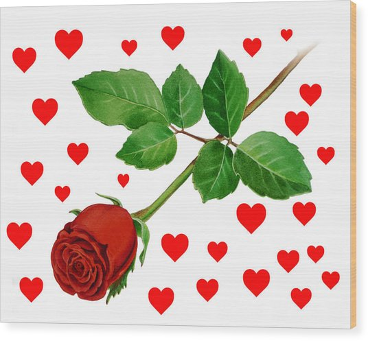 Hearts For Valentine Wood Print