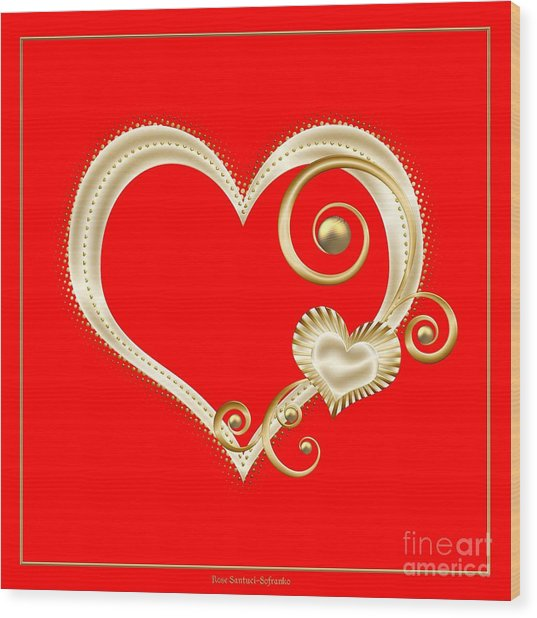 Hearts In Gold And Ivory On Red Wood Print