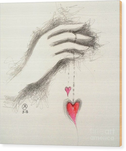 Hearts In Hand Wood Print