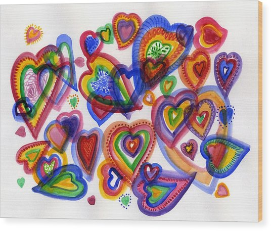 Hearts Of Colour Wood Print