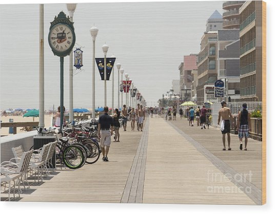 Heat Waves Make The Boardwalk Shimmer In The Distance Wood Print