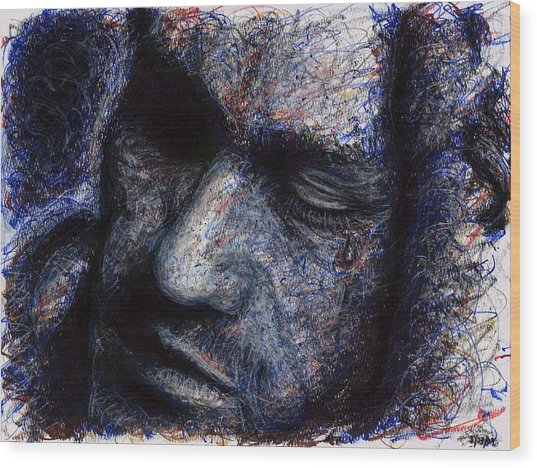 Heath Ledger - Blue Wood Print