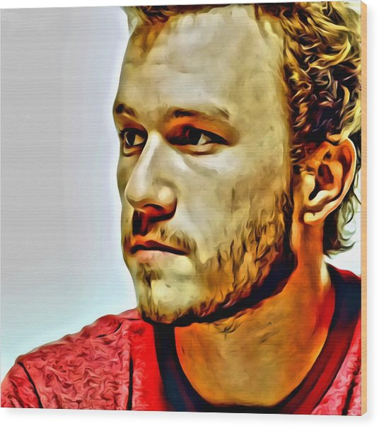 Heath Ledger Portrait Wood Print