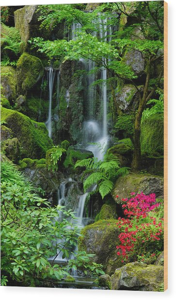 Heavenly Falls Serenity Wood Print