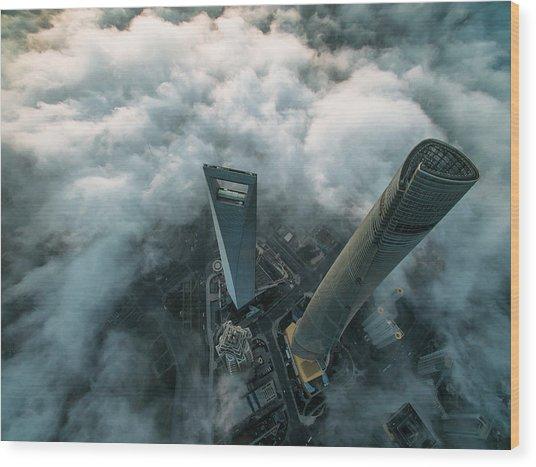 Heavenly View Of Shanghai Wood Print