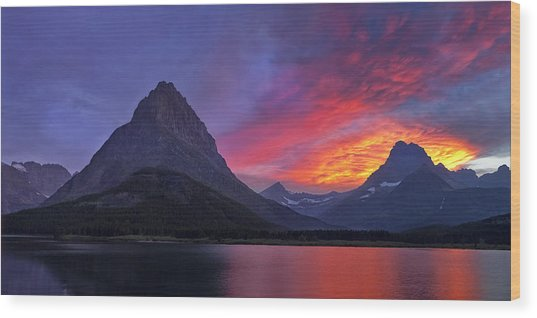 Heaven's Ablaze Wood Print