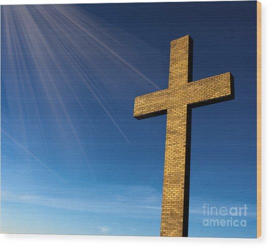 Heaven's Cross Wood Print