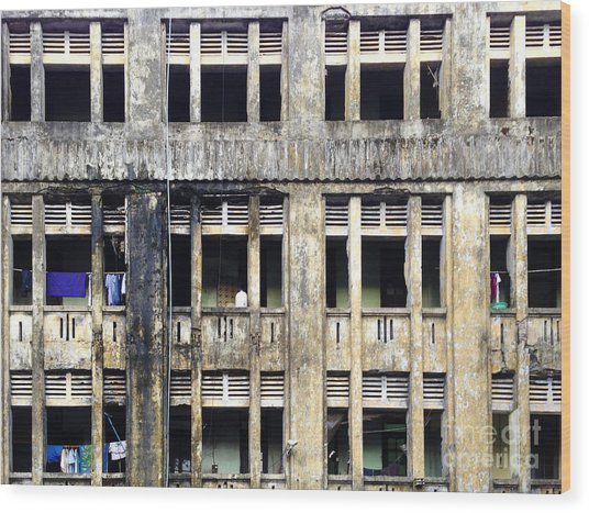 Heavy Pollution Takes Its Toll On Buildings Sule Pagoda Road Yangon Burma Wood Print by PIXELS  XPOSED Ralph A Ledergerber Photography