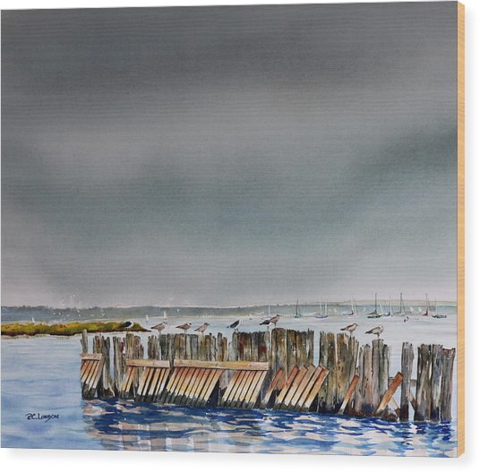 Heavy Sky In Keyport Wood Print