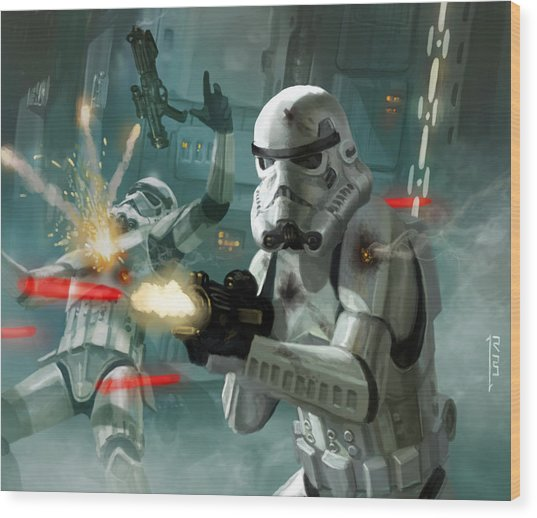Heavy Storm Trooper - Star Wars The Card Game Wood Print