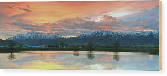Heber Valley Sunset Wood Print