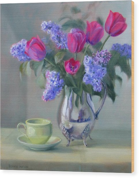 Heirlooms- Lilacs And Tulips In A Silver Pitcher Wood Print