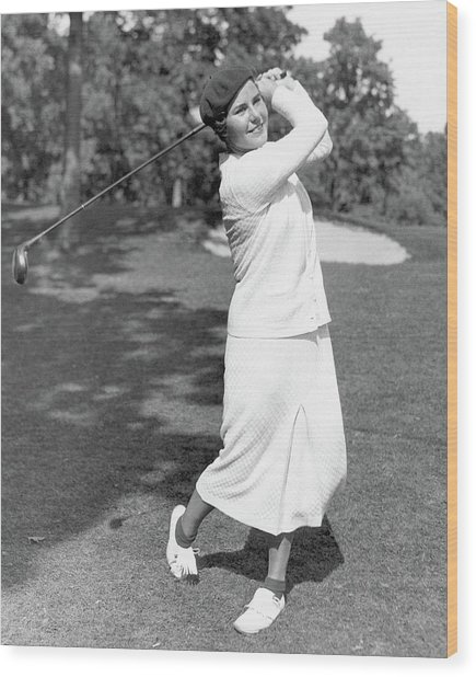 Helen Hicks Playing Golf Wood Print by Acme