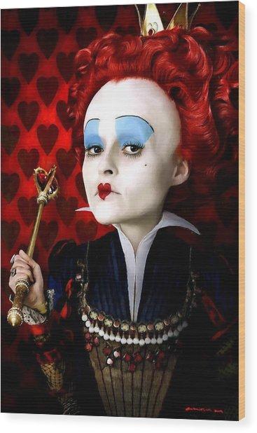 Helena Bonham Carter As The Red Queen In The Film Alice In Wonderland Wood Print