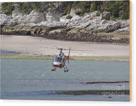 Helicopter Landing In Skagway Wood Print
