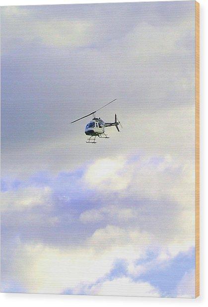 Helicopter Wood Print by Mavis Reid Nugent