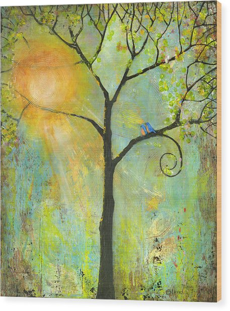 Hello Sunshine Tree Birds Sun Art Print Wood Print