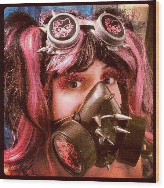 #hellokitty #gasmask #goggles #mask Wood Print
