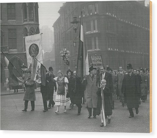 �help Hungary� Parade In Streets Of London Wood Print by Retro Images Archive