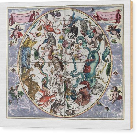 Hemispharium Astraule Wood Print by Johannes Hevelius