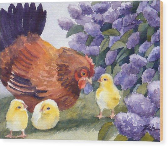 Hen And Chicks Among The Lilacs Wood Print