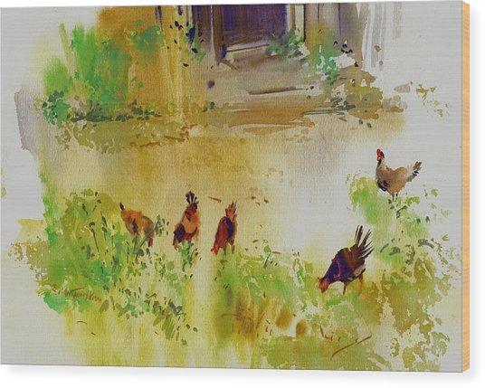 Hen Pecked Wood Print