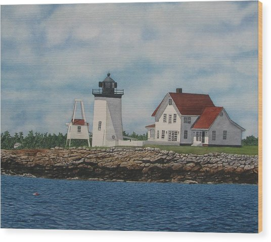 Hendricks Head Lighthouse Wood Print by Sharon Farber