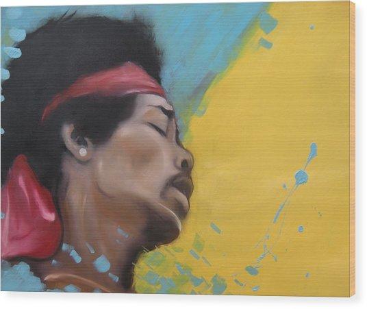 Hendrix Woodstock Wood Print