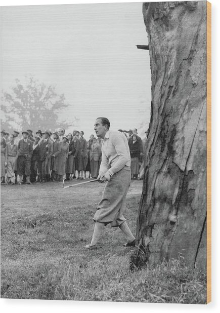 Henry Cotton Playing Golf Wood Print by Keystone Press Agency Ltd