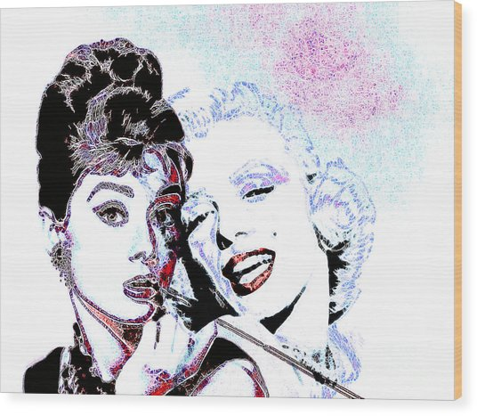 Hepburn And Monroe 20130331 Wood Print by Wingsdomain Art and Photography