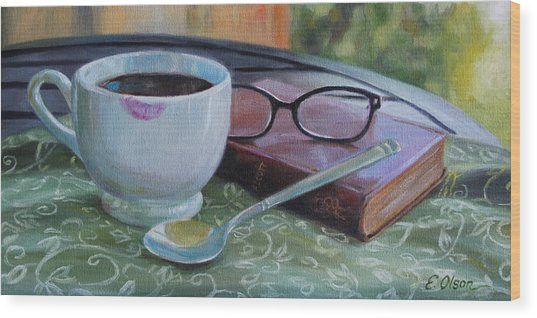 Her Morning Coffee Wood Print