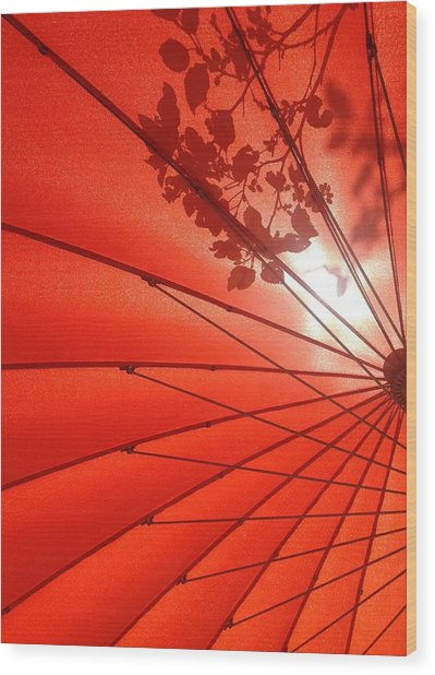 Her Red Parasol Wood Print
