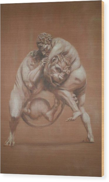Heracles And The Lion Wood Print