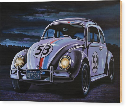 Herbie The Love Bug Painting Wood Print