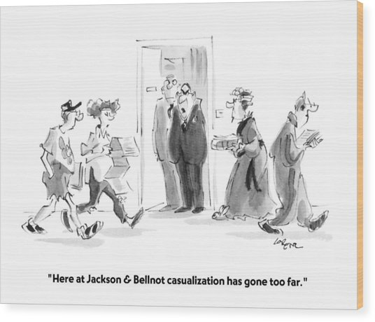 Here At Jackson & Bellnot Casualization Has Gone Wood Print