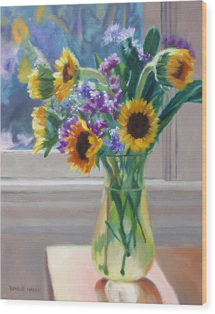 Here Comes The Sun- Sunflowers By The Window Wood Print
