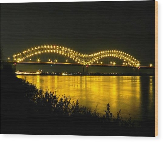 Wood Print featuring the photograph Hernando De Soto Bridge 002 by Lance Vaughn