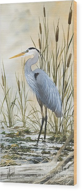 Heron And Cattails Wood Print