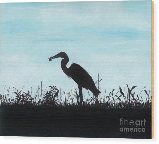 Heron Has Supper Wood Print