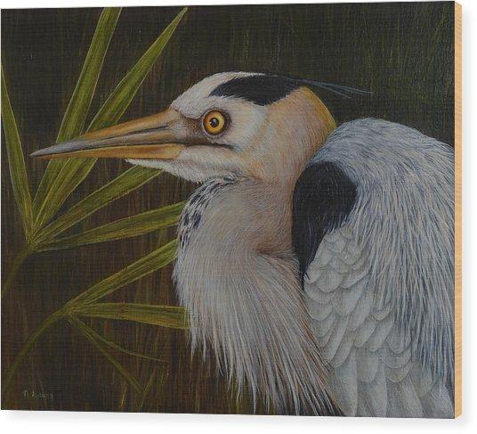 Heron In Hiding Wood Print