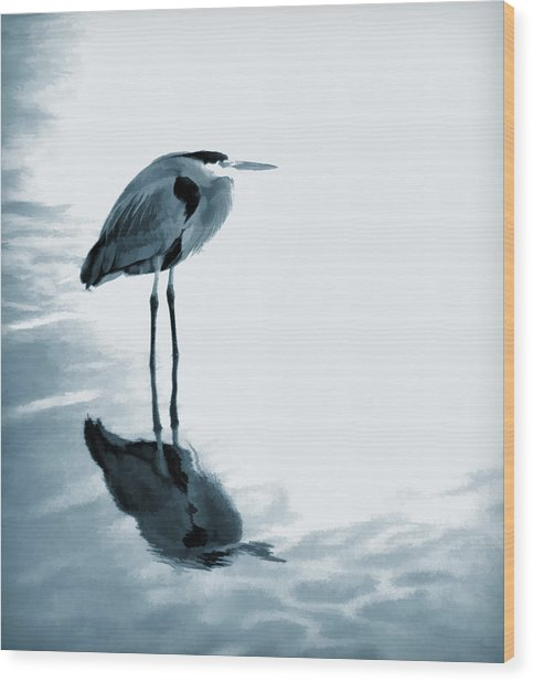 Heron In The Shallows Wood Print