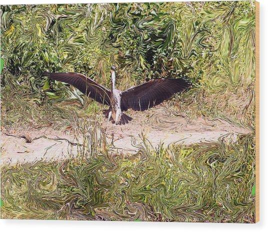Heron Landing Wood Print by Carolyn Reinhart