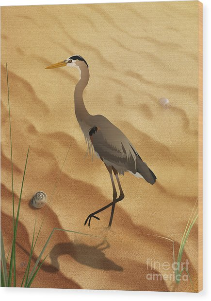 Heron On Golden Sands Wood Print
