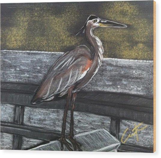 Heron On Hunting Island Fishing Dock Wood Print