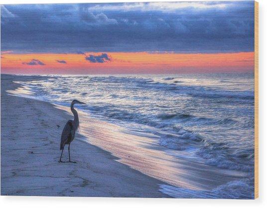 Heron On Mobile Beach Wood Print