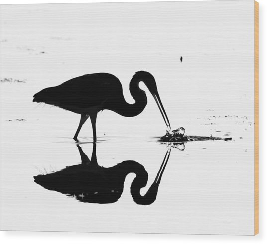 Heron Silhouette Wood Print by Brian Magnier