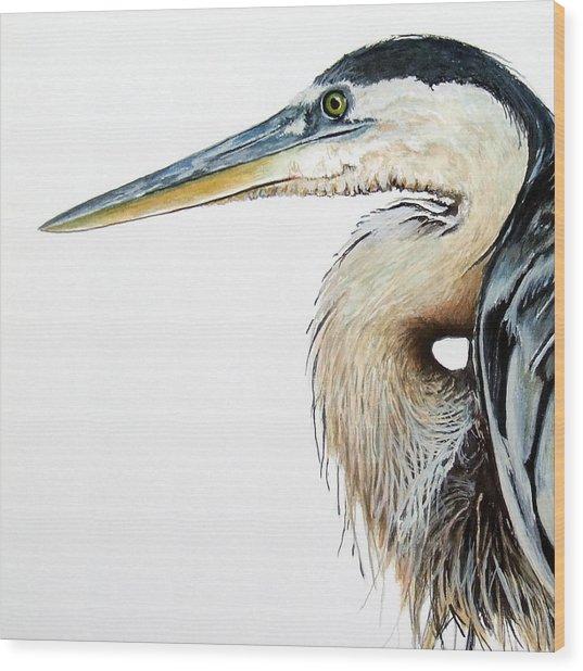 Heron Study Square Format Wood Print