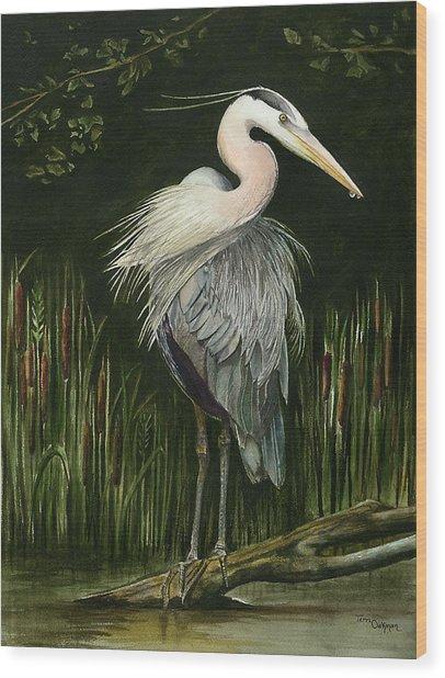 Heron Wood Print by Terri  Meyer