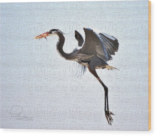 Heron With Catch Wood Print