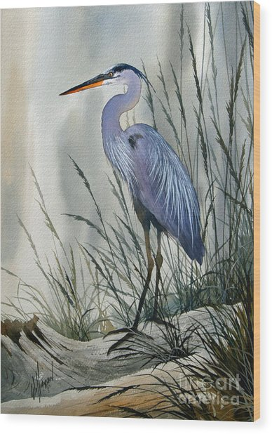Herons Sheltered Retreat Wood Print